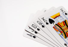 Royal flush of spades. On white background royalty free stock images