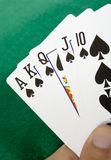Royal flush with spades Stock Photo