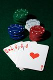 Royal flush of spades  and chips Royalty Free Stock Photo