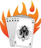 Royal flush in spades with flames. Royal flush (the highest possible) poker hand starting with ace of spades on flame background. The spade symbol on the ace has vector illustration