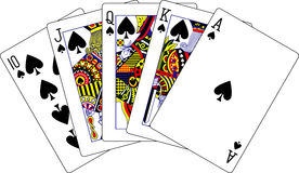 Royal flush spades playing cards Royalty Free Stock Images