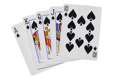 Royal flush spades poker cards with clipping path. Royal flush spades poker cards Royalty Free Stock Images