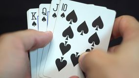 Royal Flush Spades stock video footage