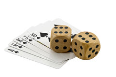 Royal Flush in Spades with Two Wooden Dice Royalty Free Stock Image