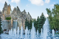 Royal Fountain and Wonder Mountain in Canada's Wonderland Stock Photo