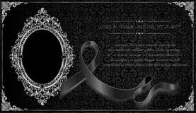 Royal frame on black pattern background, Vintage photo frame on drake background, antique. Golden ornament Stock Photo