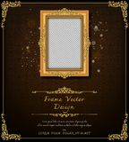 Royal frame on black pattern background, Vintage photo frame on drake background, antique. Golden ornament Royalty Free Stock Photography