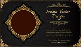 Royal frame on black pattern background, Vintage photo frame on drake background, antique. Golden ornament Stock Image