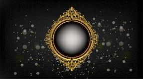 Royal frame on black pattern background, Vintage photo frame on drake background, antique. Golden ornament Royalty Free Stock Image