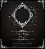 Royal frame on black pattern background, Vintage photo frame on drake background, antique. Golden ornament Stock Images
