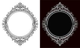 Royal frame on black pattern background, Vintage photo frame on drake background, antique. Golden ornament Royalty Free Stock Photos