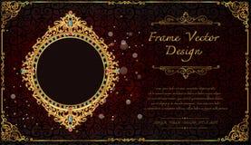 Royal frame on black pattern background, Vintage photo frame on drake background, antique. Golden ornament Stock Photos