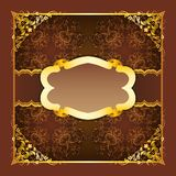 Royal frame with ribbons on seamless ornament Royalty Free Stock Photography