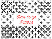 Royal french lily fleur-de-lys seamless patterns vector illustration