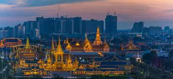 The Royal funeral pyre for King Bhumibol Adulyadej. Aerial photography at the Royal funeral pyre for King Bhumibol Adulyadej in sunset time. the Royal funeral Stock Photos