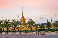 The Royal funeral pyre for King Bhumibol Adulyadej. Sunset at the Royal funeral pyre for King Bhumibol Adulyadej at midnight in Bangkok, Thailand stock photography