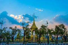 The Royal funeral pyre for King Bhumibol Adulyadej. Sunset at the Royal funeral pyre for King Bhumibol Adulyadej at midnight in Bangkok, Thailand royalty free stock images