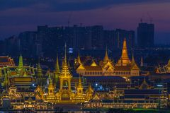 The Royal funeral pyre for King Bhumibol Adulyadej in twiligth. Aerial photography at the Royal funeral pyre for King Bhumibol Adulyadej in twilight. the Royal Stock Photo
