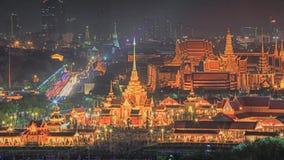 Royal funeral pyre of princess at night in Bangkok. Stock Image