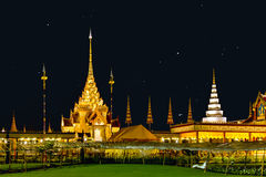 The royal funeral pyre of princess at the night, Thailand Stock Image