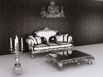 Royal furniture in Baroque interior. Sofa Royalty Free Stock Photos