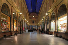 Royal Galleries of St-Hubert, Brussels, Belgium. Night scene in the Royal Galleries of Saint-Hubert, the first shopping arcade in Europe and one of the most Royalty Free Stock Photography
