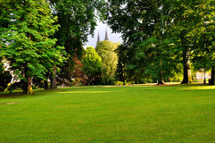 Royal Garden in Prague. With two towers of St. Vitus Cathedral stock photography