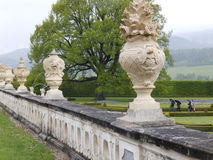 Royal Garden. Upper Terrace of Royal Gardens - Cesky Krumlov Castle.  Rain and mist in background Stock Photo