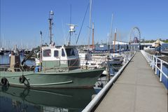 Boats moored on Geelong waterfront Melbourne Victoria Australia royalty free stock photos