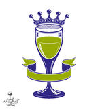 Royal goblet of wine with 3d imperial crown, anniversary idea de Stock Image