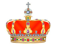 Of royal gold crown with jewels and ornament Royalty Free Stock Photography