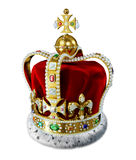 Royal gold crown, with many jewels and decorations. Stock Photo