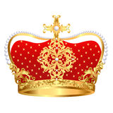 Royal gold crown with ornament and pearls Stock Images