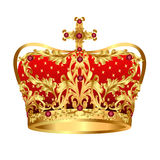 Royal gold crown with red precious stones. Illustration of Royal gold crown with red precious stones Stock Photos