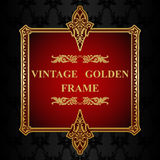 Royal gold Picture frame on the dark wallpaper Royalty Free Stock Images