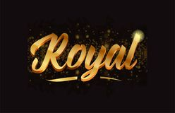 Goldenlogotype copy 66. Royal gold word text with sparkle and glitter background suitable for card, brochure or typography logo design royalty free illustration