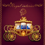 Royal golden carriage and emblem of a lion Royalty Free Stock Images