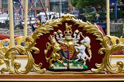 Royal golden crest. On royal barge Stock Image