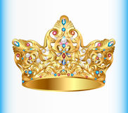 royal golden crown with an ornament and precious st Royalty Free Stock Image