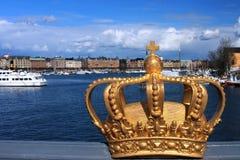 Royal golden crown (Stockholm, Sweden). Royal golden crown in Stockholm city (Sweden) - selective focus Stock Images