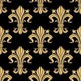 Royal golden fleur-de-lis seamless pattern Stock Images