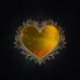 Royal Golden Frame in Shape of Heart. Valentine's Day Decorative Symbol. Gold Luxury Background vector illustration