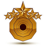 Royal golden geometric symbol with white copy space, stylized go Stock Images