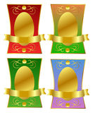 Royal Golden Labels. Aristocratic golden label in four different color combinations Stock Photos