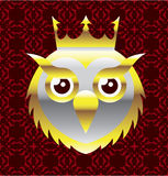 Royal Golden Owl with a Crown Vector Stock Photography