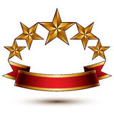 Royal golden symbolic five stylized glossy stars Royalty Free Stock Image