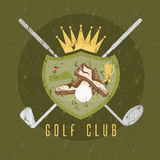 Royal golf club grunge coat of arms  design template Royalty Free Stock Image