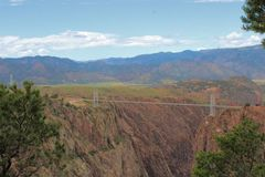 Royal Gorge Rocky Mountains, Colorado. A view of the bridge spanning the Royal Gorge in the Rocky Mountains near Canon City, Colorado Stock Photography