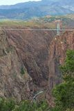 Royal Gorge Rocky Mountains, Colorado. A view of the bridge spanning the Royal Gorge in the Rocky Mountains near Canon City, Colorado Stock Photo
