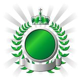 Royal green shield. Ornamental metallic and green shield over striped background vector illustration